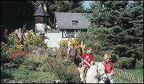 Mädchen streichelt ein Pony beim Ponyreiten