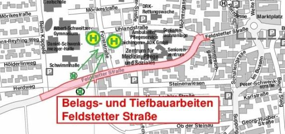 Belags- und Teifbauarbeiten Feldstetter Straße